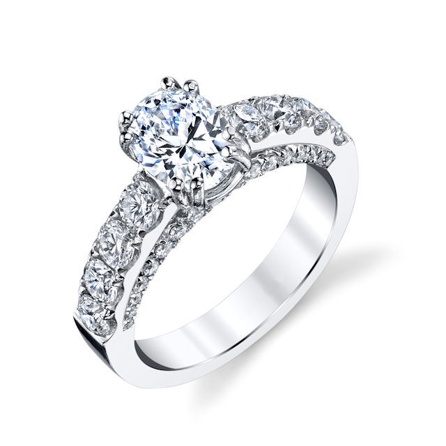 Item # E33043WE - Classical Diamond Engagement Ring View-1