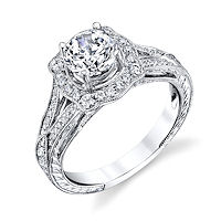 Item # E33044W - Vintage Halo Engagement Ring