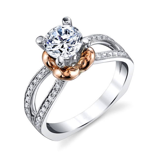 Item # E7045 - Rose & White Gold Diamond Engagement Ring View-1