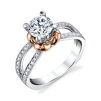 Item # E7045E - Rose & White Gold Diamond Engagement Ring