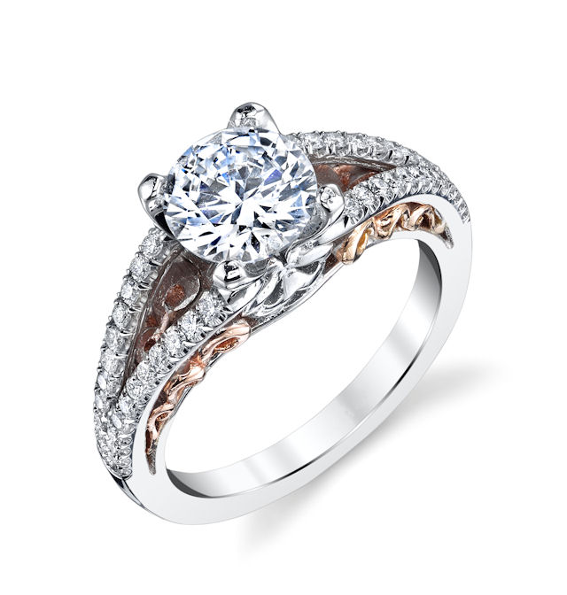 Rose & White Gold Diamond Engagement Ring
