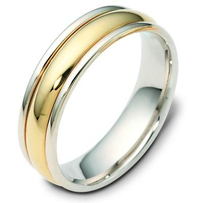 F119591E 18K Two Tone Gold Wedding Band