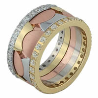 Diamon Wedding Band Tri Color