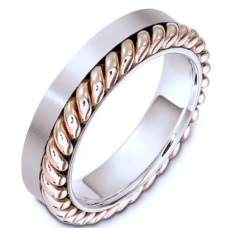 G133321PE Platinum And 18 Kt Rose Gold Wedding Band