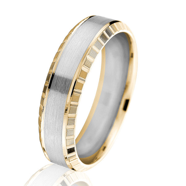 Two-Tone Gold 6.0 MM Beveled Wedding Ring