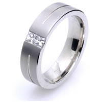 18KT White Gold Diamond Men's Wedding Band