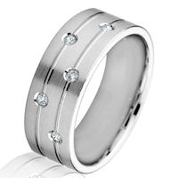 Item # G86868WE - 18Kt White Gold Diamond 8.0 MM Wedding Band