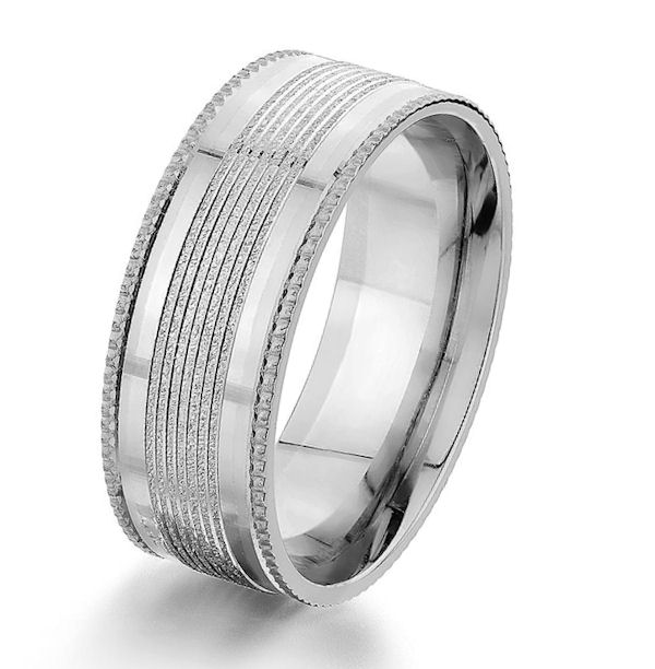 White Gold Designed 8.0 MM Wedding Ring