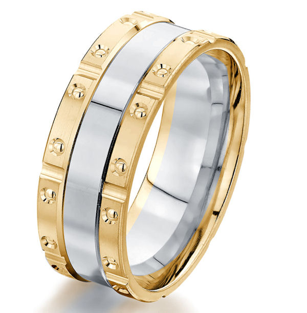 Two-Tone Brick Style Wedding Ring