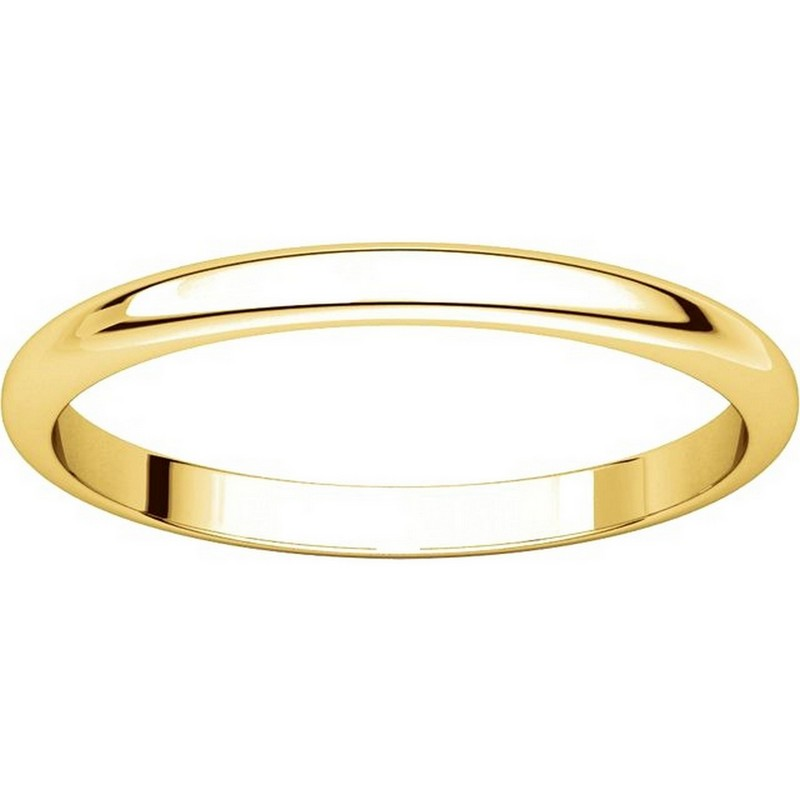 Item # H116762 - 14K Yellow Gold High Dome Plain Wedding Band View-3
