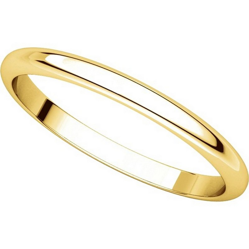 Item # H116762 - 14K Yellow Gold High Dome Plain Wedding Band View-4