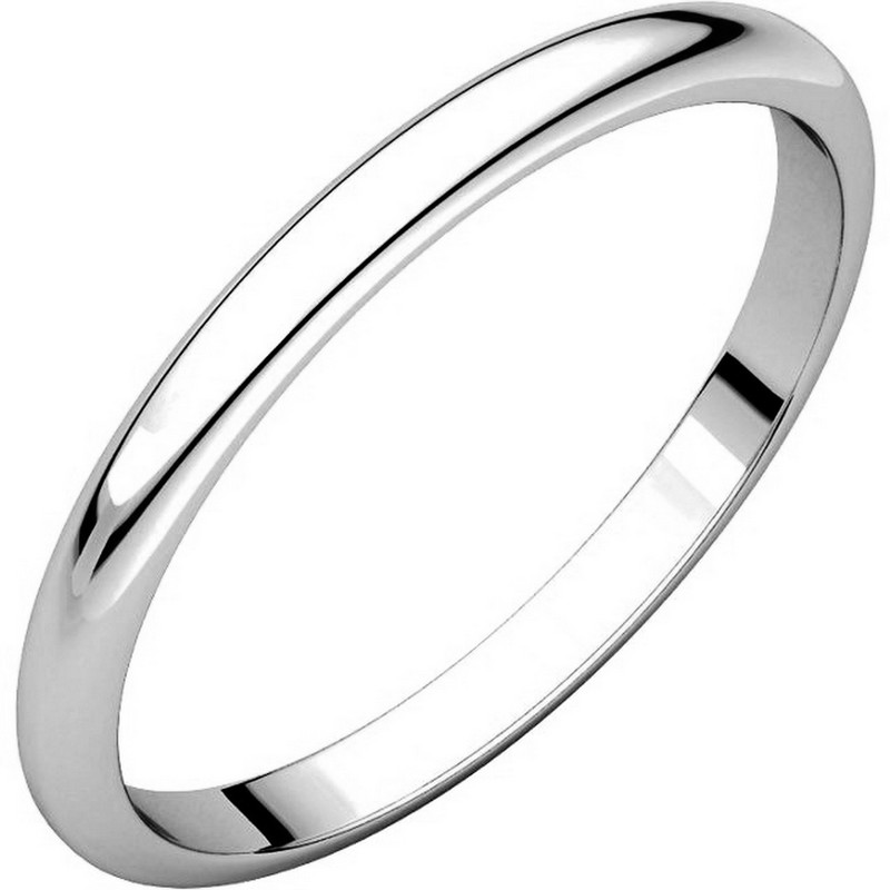 White Gold 2 mm Wide High Dome Plain Wedding Ring