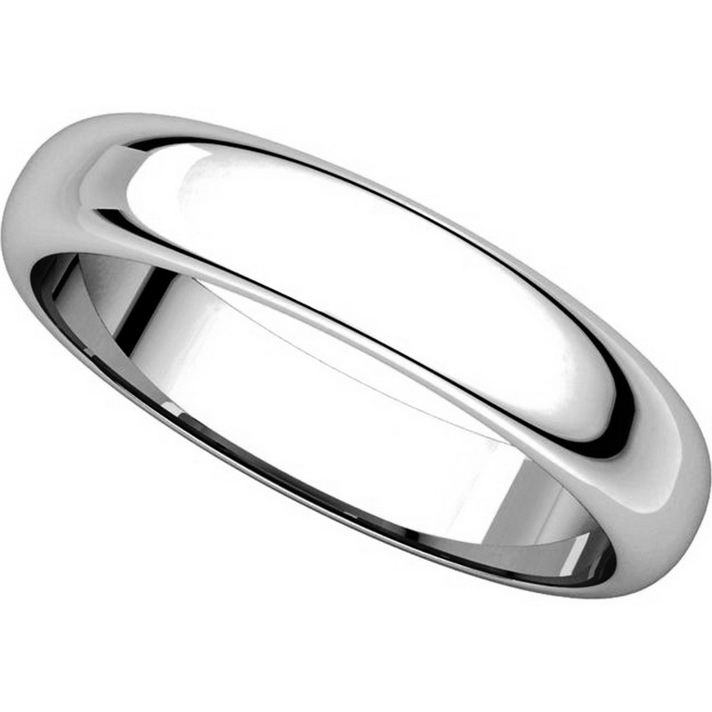 Item # H116804W - 14K White Gold 4mm High Dome Plain Band View-4