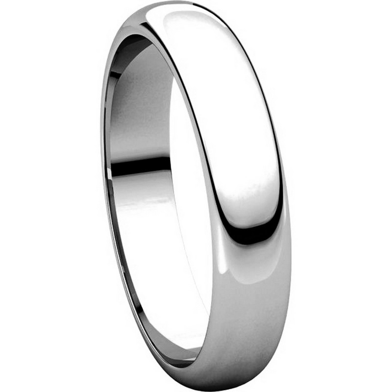 Item # H116804W - 14K White Gold 4mm High Dome Plain Band View-5
