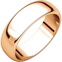 Item # H116826R - 14K Rose Gold 6mm Wide High Dome Plain Wedding Band