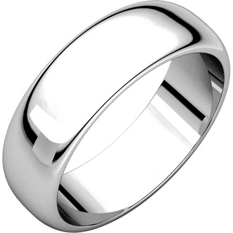 14K White Gold 6mm Wide High Dome Plain Wedding Band