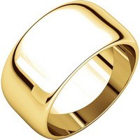 Item # H1168310E - 18K Gold 10 mm High Dome Plain Band