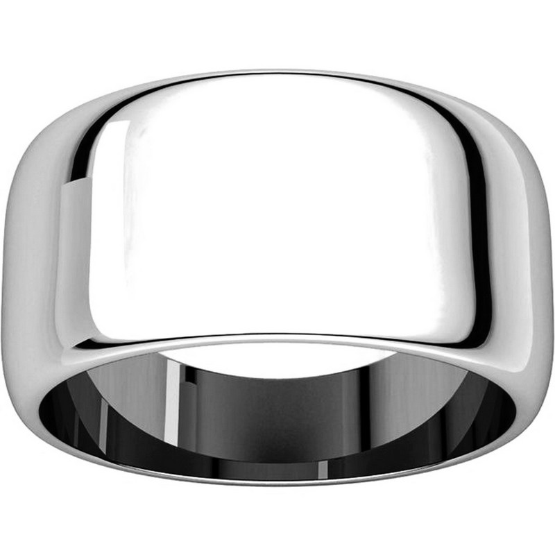 Item # H1168310W - 14K White Gold 10 mm Wide High Dome Plain Wedding Band View-3