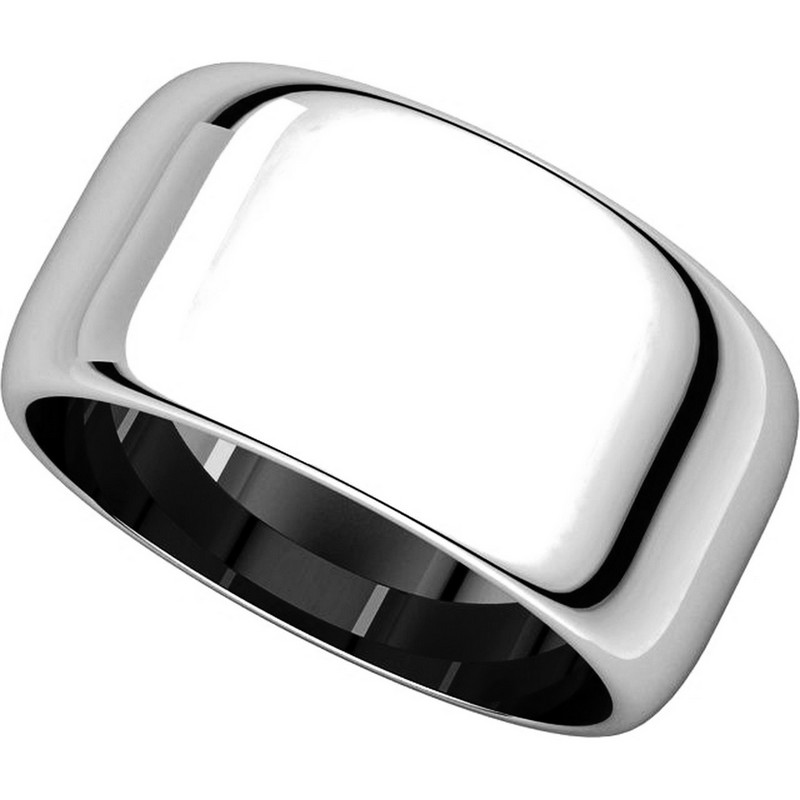 Item # H1168310W - 14K White Gold 10 mm Wide High Dome Plain Wedding Band View-4