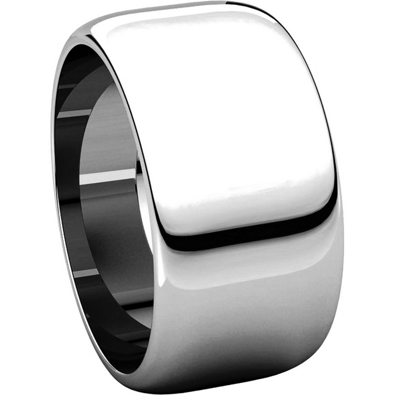 Item # H1168310W - 14K White Gold 10 mm Wide High Dome Plain Wedding Band View-5