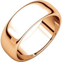 Item # H116837R - 14K Rose Gold Plain 7mm High Dome Wedding Band
