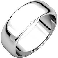 Item # H116837WE - 18K Plain Wedding Band White Gold 7 mm Wide High Dome