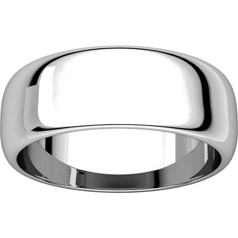 Item # H116837W - 14K Plain Wedding Band White Gold 7 mm High Dome View-3
