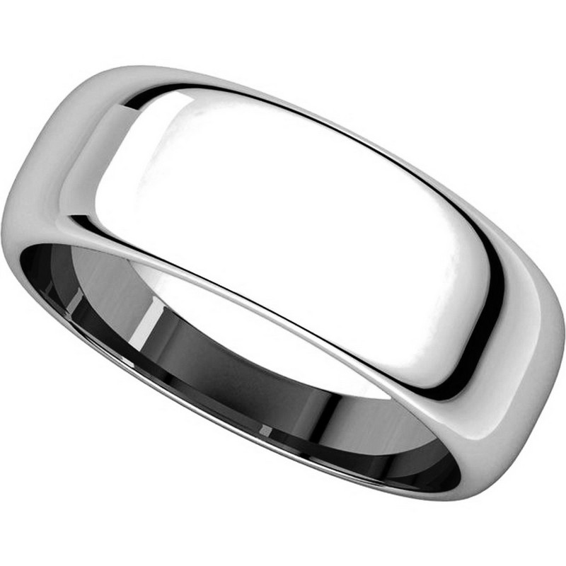 Item # H116837W - 14K Plain Wedding Band White Gold 7 mm High Dome View-4