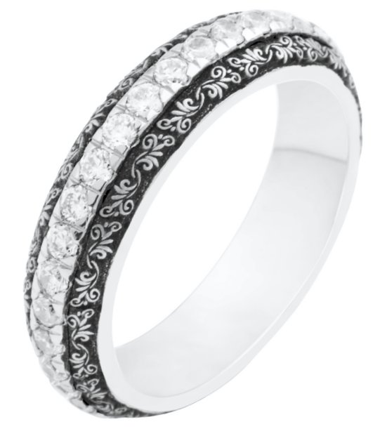Item # J10934W - 14K Verona Lace Wedding Bands View-1