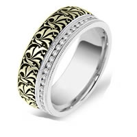 Item # J109372 - 14K Two Tone Romeo-Juliet Wedding Band