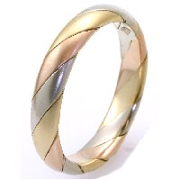 14K Tri-Color Gold Wedding Band