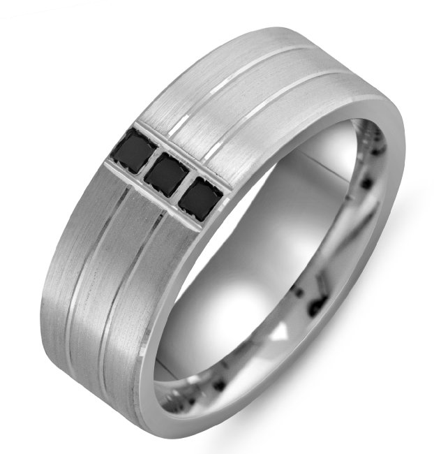 Item # M301008W - 14K White Gold Black Diamonds Wedding Band View-1