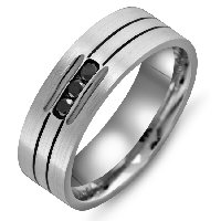 Item # M305397AG - Silver Black Diamond Wedding Band