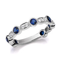 Item # M31900WE - White Gold Diamond & Sapphire Stackable Ring