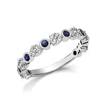 Item # M31954WE - 18Kt White Gold Diamond & Sapphire Ring