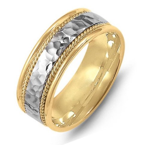 Platinum and 18K Gold Hammered Wedding Band