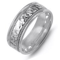 14K Hammered White Gold Wedding Band