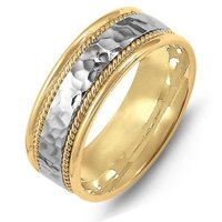 14K Two-Tone Hammered Wedding Band