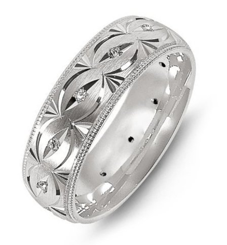 Palladium Carved Diamond Wedding Band
