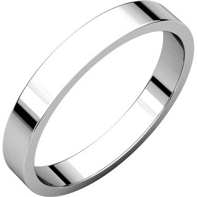 18K White Gold 3mm Wide Flat Wedding Band