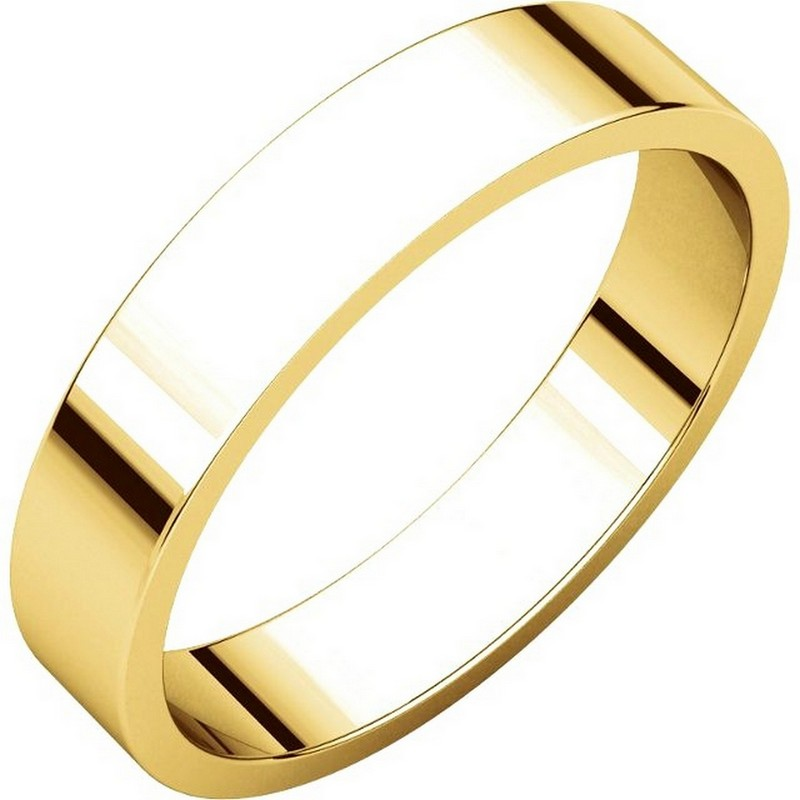 Yellow Gold 4mm Wide Flat  Plain Wedding Band
