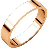 Item # N012504RE - 18K Rose Gold Plain 4mm Wide Flat Wedding Band