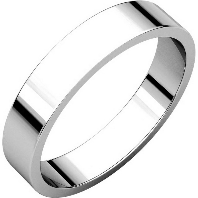 White Gold 4mm Wide Flat  Plain Wedding Band