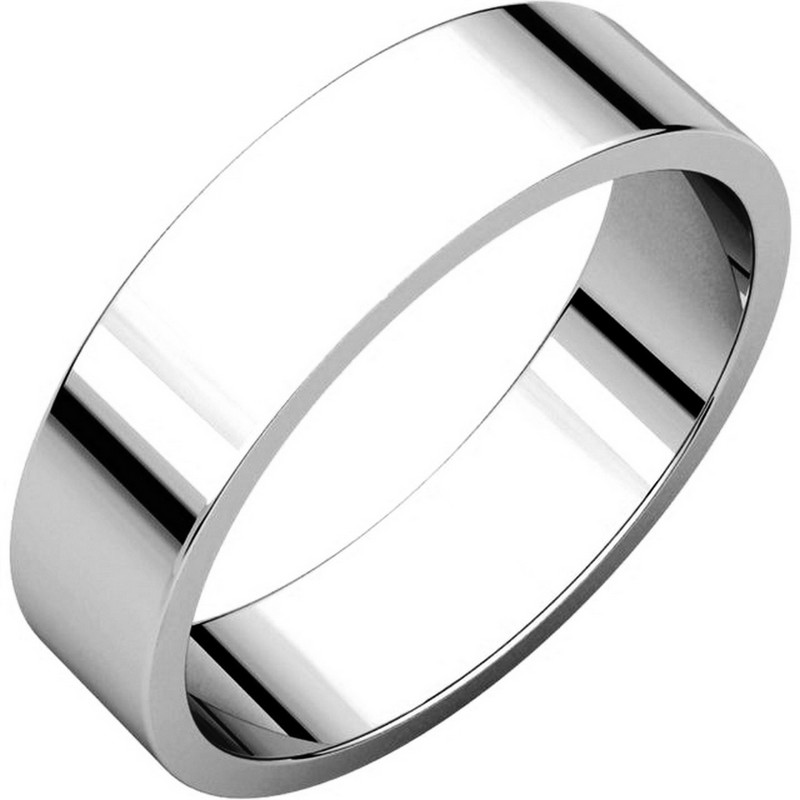 White Gold 5mm Wide Flat Plain Wedding Band