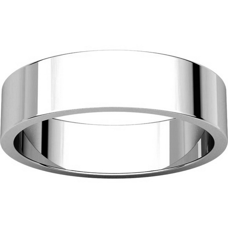 Item # N012505W - 14K White Gold 5mm Wide Flat Plain Wedding Band View-3
