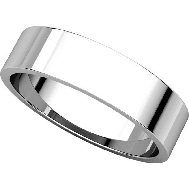Item # N012505W - 14K White Gold 5mm Wide Flat Plain Wedding Band View-4