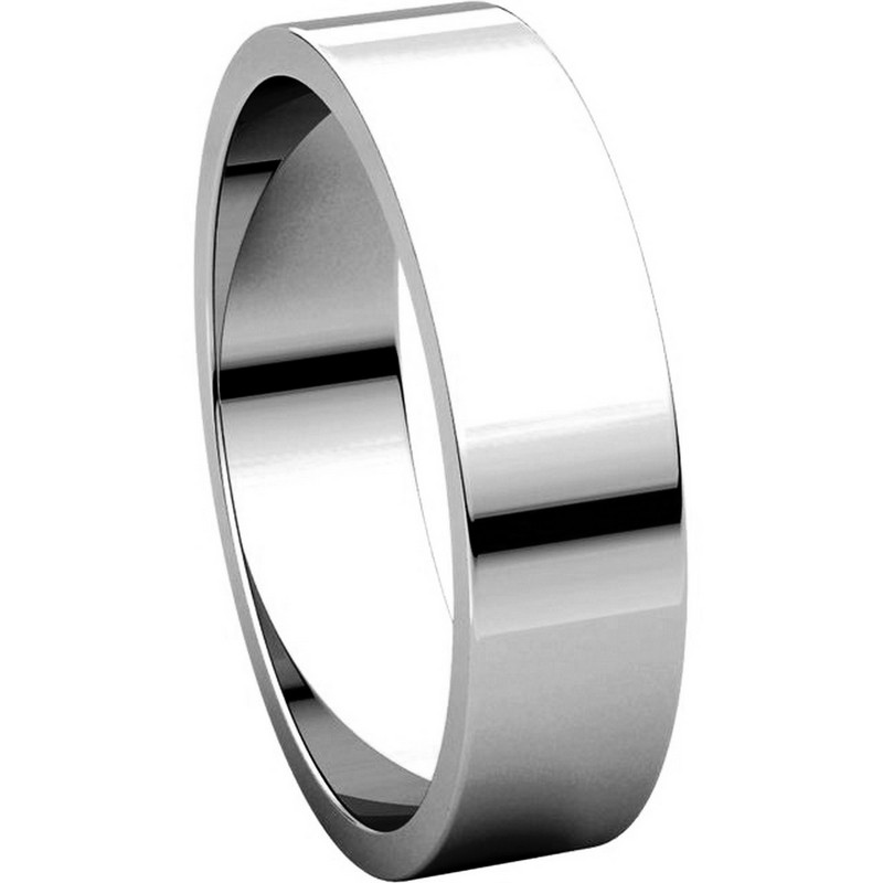 Item # N012505W - 14K White Gold 5mm Wide Flat Plain Wedding Band View-5