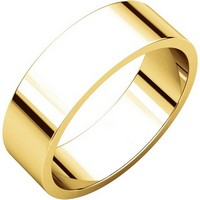Item # N012506 - 14K Yellow Gold 6mm Wide Flat  Plain Wedding Band