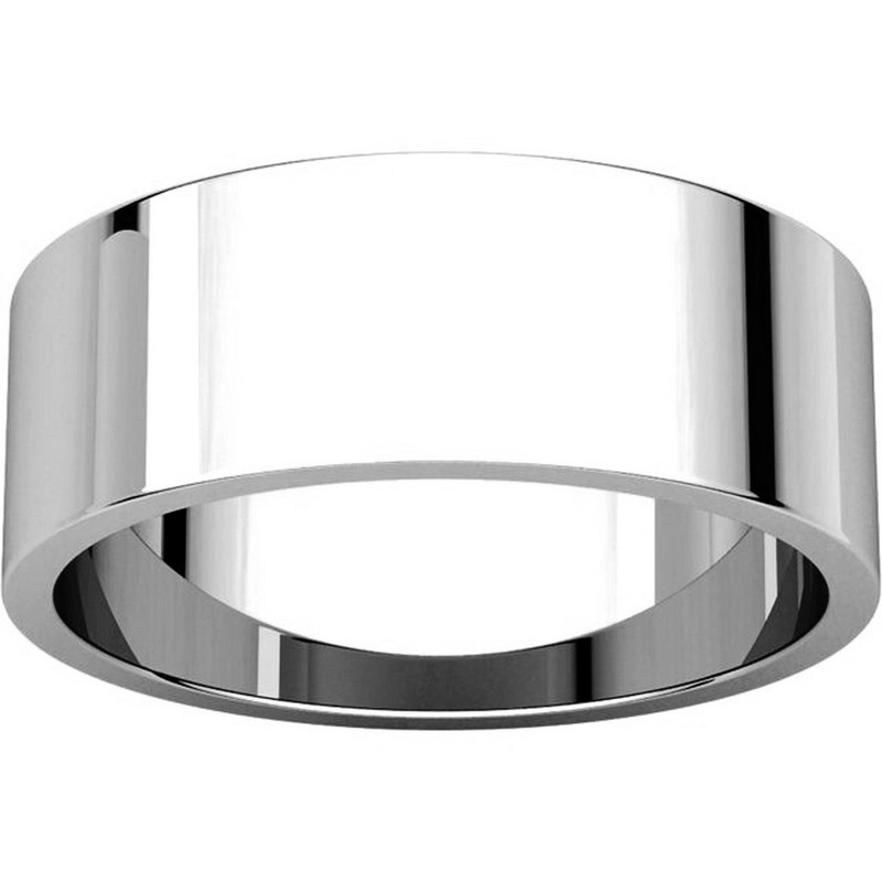 Item # N012507W - 14K White Gold 7.0mm Flat Band View-3