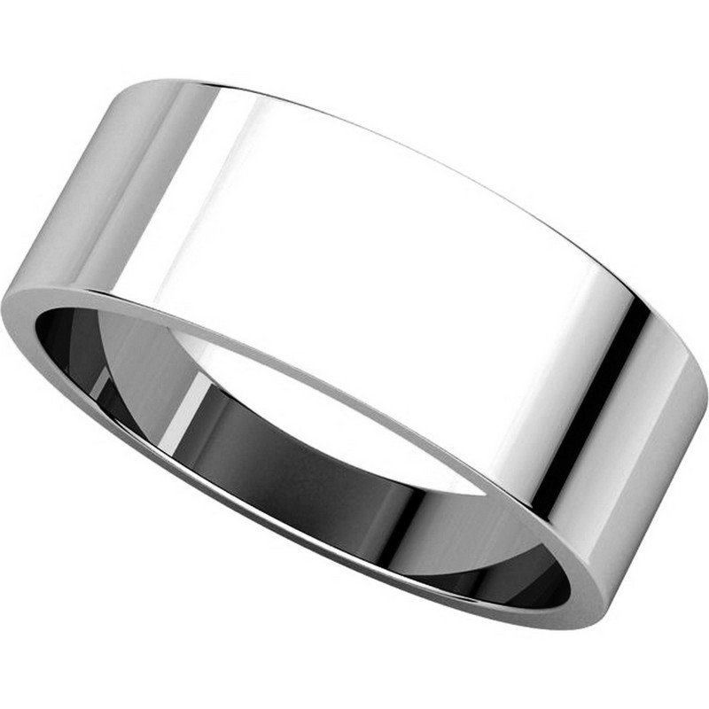 Item # N012507W - 14K White Gold 7.0mm Flat Band View-4